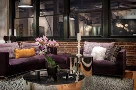 purple sectional zebra print rug and mirrored coffee table chic zebra print rug