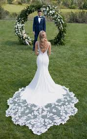 Botanical <b>Lace Wedding Dress</b> with Shaped Train - Martina Liana