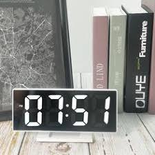 <b>HD Mirror Alarm Clock</b> Multifunction Makeup Mirror Bedside Digital ...