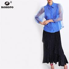 <b>ROHOPO</b> Puff Long Sleeve Mesh Blue Blouse Single Breast ...