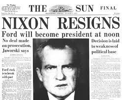 「1974, nixon speak in tv of his resignation succeeding him johnson」の画像検索結果
