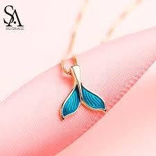 <b>SA SILVERAGE Real 925</b> Sterling Silver Blue Color Mermaid Tail ...