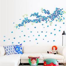 room elegant wallpaper bedroom: diy blue elegant flower floral wall sticker living room bedroom tv pvc sofa background decals home decor wallpaper mural poster