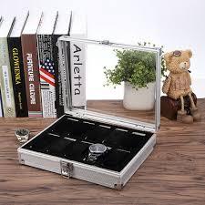 <b>10</b>-<b>Grid Aluminium</b> Watch Display Case- Jewelry Collection Storage ...