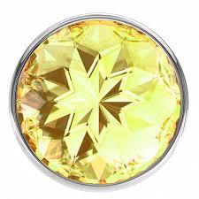 <b>Большая серебристая анальная пробка</b> Diamond Yellow Sparkle ...