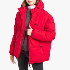 <b>Куртка стеганая</b> унисекс с капюшоном, широкая, alaska красный ...