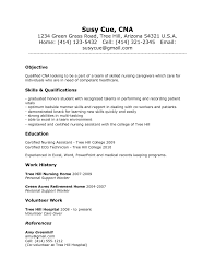 resume objective cna job resume work experience sample assistant resume cover letter