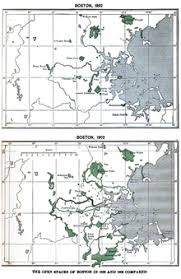 two maps showing the open spaces of boston in 1892 and 1902 boston office space charles