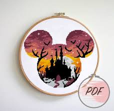 Mouse with <b>halloween castle</b> cross stitch <b>pattern</b> modern | Etsy ...