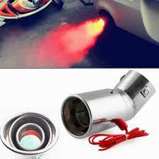 <b>universal</b> stainless steel <b>car led</b> exhaust muffler tip pipe red light ...