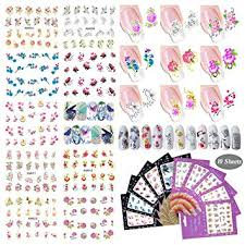 10 Pcs Nail Art Decal Stickers Colorful Flower Nail ... - Amazon.com