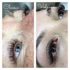 Side by side comparison of <b>Classic</b> vs. Volume <b>eyelash extensions</b> ...
