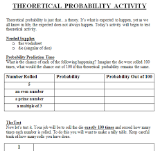 Theoretical and Experimental Probability Lesson Plan 7th Grade ...... probability worksheet