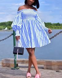 <b>Sweet Off The</b> Shoulder Blue White Striped Lantern Sleeve Mini Dress