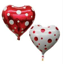 <b>10Pieces 18Inch</b> Heart Polka Dot Foil Balloons Wedding Party ...