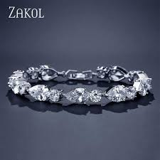 <b>ZAKOL</b> Trendy <b>Water Drop</b> Shape Cubic Zirconia Charm Bracelets ...