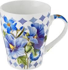 """<b>Кружка Loraine</b> """"<b>Цветы</b>"""", цвет: белый, синий, зеленый, <b>340</b> мл ..."""