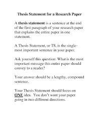 thesis example essay examples of thesis statements for research
