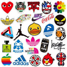 <b>100 PCS Fashion</b> brand Logo Waterproof Sticker for Luggage Car ...