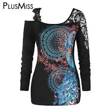 <b>PlusMiss Plus Size 5XL</b> Tribal Printed Floral Lace Crochet Tunic ...