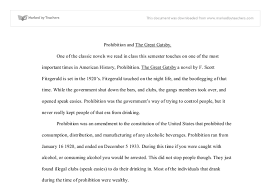 Prohibition and The Great Gatsby   A Level English   Marked by     Marked by Teachers