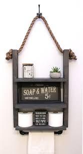 Hanging Bathroom Ladder Shelf with Industrial <b>Towel Bar</b> ...