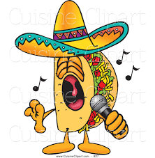 cuisine clipart of a grinning taco mascot cartoon character singing loud into a microphone