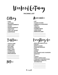printable packing list for a trip definitely using this for my weekend getaway packing list