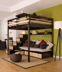 home design full loft bed with desk and stairs compact marble alarm clocks dark red brick desk wall clock