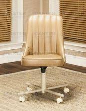 casual dining chairs with casters: casual caster dining chair swivel tilt in buff vinyl set of