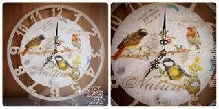"<b>Часы</b> настенные ""Райские птички"" (декупаж) | Reloj"