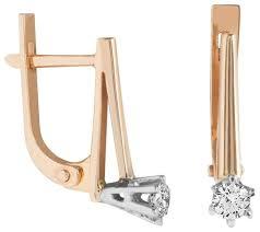 Yvel <b>Серьги с 2 бриллиантами</b> из красного золота 00422025 ...
