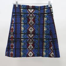J.CREW Mini <b>Skirt</b> Womens 00 Zipper Windowpane Jacquard Blue ...