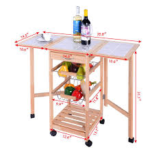 leaf kitchen cart: portable rolling drop leaf kitchen storage tile top wooden drawers trolley cart