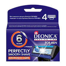 <b>Deonica</b> 6 лезвий For <b>Men</b> Сменные <b>кассеты</b> для бритья, 4 шт ...