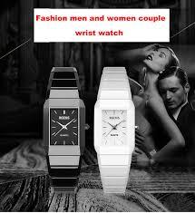 woman wristwatches black white 100% ceramic quartz <b>square</b> ...