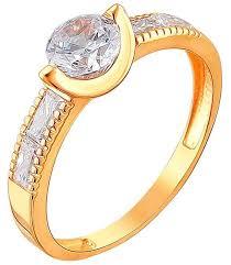 Эстет <b>Кольцо с 5 фианитами</b> из красного золота 01К1110958 ...