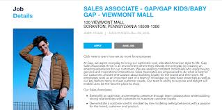 gap inc position s associate gap gap kids baby jobs now gap inc is looking for skilled personnel for the post of s associate gap gap kids baby if you are interested please apply online