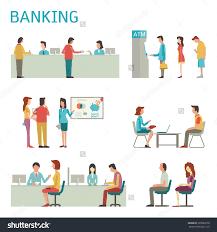 flat design illustration banking concept set stock vector flat design illustration of banking concept set bank interior counter desk cashier