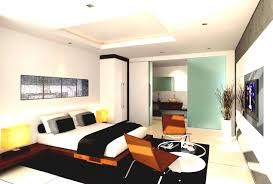 Modern One Bedroom Apartment Design Interior Modern Studio Apartment Bedroom Chair Table Lamp White