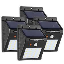 Utorch <b>Solar</b> Powered PIR <b>LED</b> Wall Light <b>4pcs</b>   Gearbest