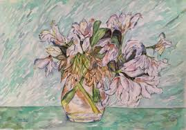 still life wc a patel art 2012 amish s lillies 40x57 cm