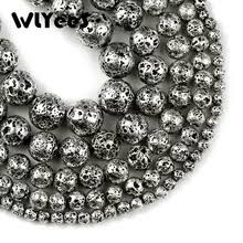 <b>WLYeeS</b> White <b>Gold</b> Lava <b>Natural Stone</b> Beads Round Loose ...