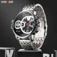 <b>WEIDE Men Sports Military</b> Stainless Steel Strap Auto Date Quartz ...
