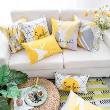 Yellow Gray Pillow <b>Nordic</b> Style Yellow <b>Elk</b> Geometric Pillows For ...