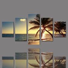 BANMU <b>5 Pieces</b> Frameless Canvas Photo Prints Sea <b>Sunset</b> Palm ...