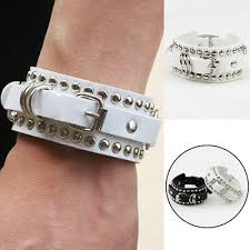<b>Vintage Punk</b> Rock Rivet <b>Leather Bracelet</b> Wristband Bangle ...