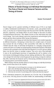 effects of social change on individual development the role of effects of social change on individual development the role of social and personal factors and the timing of events pdf available