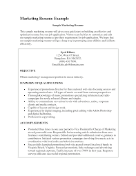 sample resume objective for marketing position shopgrat cover letter marketing resume example summary of qualifications and accomplishments sample resume objective