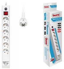 Сетевой фильтр Buro BU-SP5_USB_2A-W 5м (<b>6 розеток</b>) белый ...